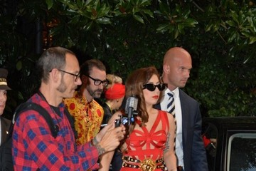 Lady Gaga Gets Daring in a Red Bandage Cutout Dress