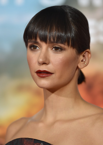 Nina Dobrev's Blunt Bangs and Short Ponytail at a Hollywood Premiere