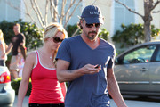 Singer Britney Spears and her boyfriend Jason Trawick seen leaving a recording studio before stopping by a Rite-Aid to pick up some snacks in Calabasas, CA. Upon leaving the recording studio Britney hugs her manager Larry Rudolph.