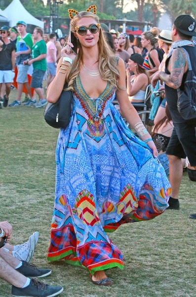 Wearing A Breezy, Colorful Maxi And Her Signature Kitty Ears At Coachella 2015