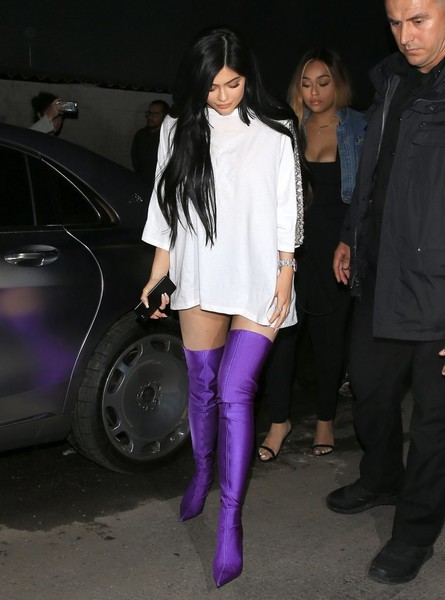 In Vibrant Purple Balenciaga Thigh-High Boots While Out In West Hollywood