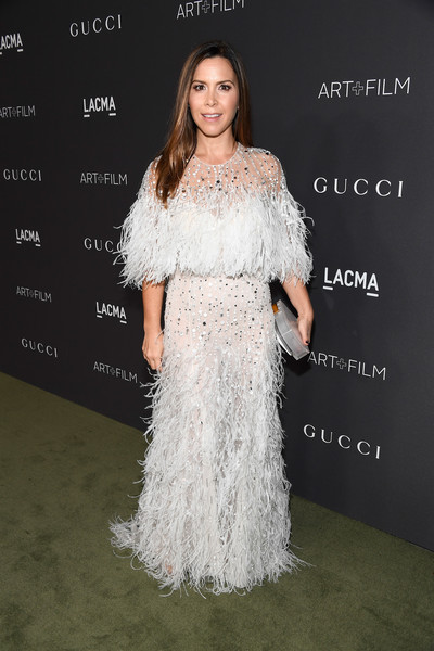 Monique Lhuillier in White Feathers