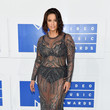 Ashley Graham in Gunmetal Beaded Mesh