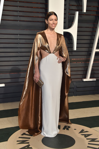 Jessica Biel in a Gold Cape