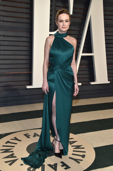 Brie Larson in Emerald Satin