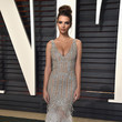 Emily Ratajkowski in Silver Beads and Feathers