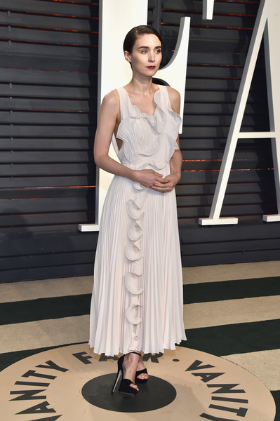 Rooney Mara in White Ruffles and Pleats