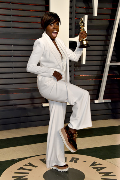 Viola Davis in a White Pantsuit and Platforms
