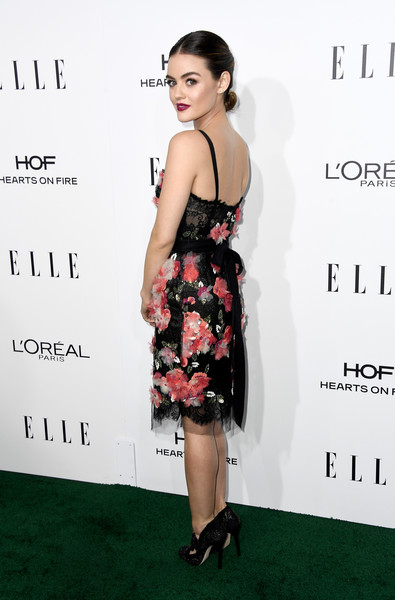 Lucy Hale in a Sequined Rose Dress