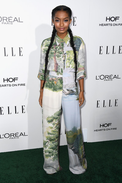 Yara Shahidi in a Print Button-Up and Matching Pants