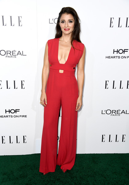 Shiri Appleby in a Fierce Red Jumpsuit
