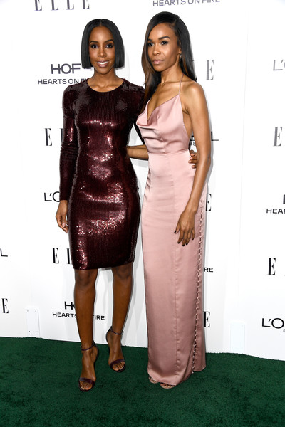 Kelly Rowland and Michelle Williams in Maroon and Mauve