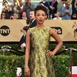 Samira Wiley in a Floral Cocktail Dress