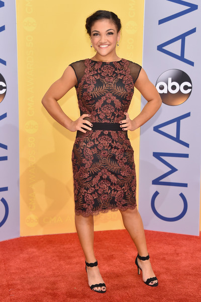 Laurie Hernandez in an Embroidered Cocktail Dress