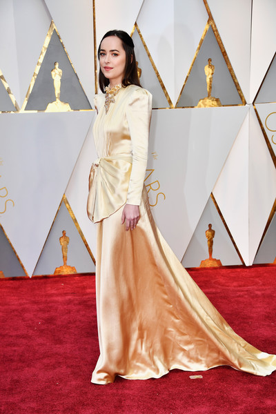 Dakota Johnson in Gold Satin