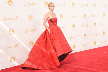 January Jones' Red Gown (Photos from the 2014 Emmys)