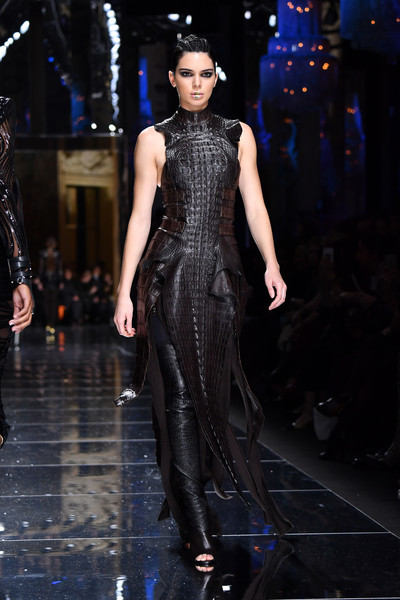Slaying A Croc-Embossed Leather Dress On The Balmain Runway At Paris Fashion Week