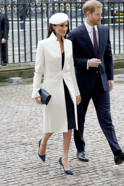 Meghan's White And Navy Ensemble
