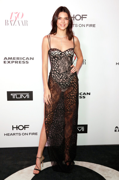 Wearing Sheer Mixed Lace At The Harper's Bazaar 150 Most Fashionable Women Celebration