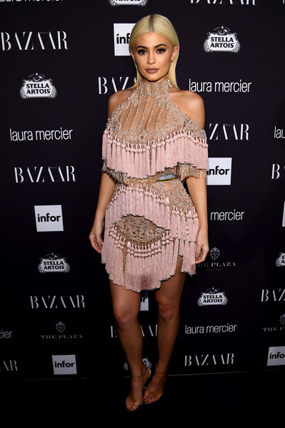 Wearing Fringed And Beaded Balmain At The Harper's Bazaar Icons Event