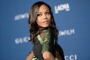 Actress Zoe Saldana, wearing Gucci, attends the LACMA 2013 Art + Film Gala honoring Martin Scorsese and David Hockney presented by Gucci at LACMA on November 2, 2013 in Los Angeles, California.