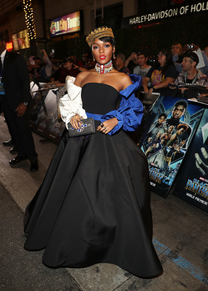 In An Off-The-Shoulder Christian Siriano Set At The 'Black Panther' World Premiere