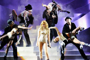 Miley Cyrus performs onstage during the MTV Europe Music Awards 2010 live show at La Caja Magica on November 7, 2010 in Madrid, Spain.