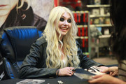 Actress Taylor Momsen of the band The Pretty Reckless promotes