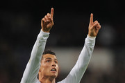 Cristiano Ronaldo of Real Madrid celebrates after scoring Real's first goal during the La Liga match between Real Madrid and Villarreal at Estadio Santiago Bernabeu on January 9, 2011 in Madrid, Spain.