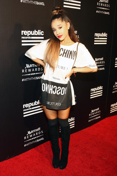 Wearing A Moschino Mini-Dress At The Republic Records VMA After-Party