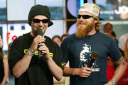 (U.S. TABS OUT)  Pro skateboarders Bam Margera (L) and Ryan Dunn appear on stage to promote the new show