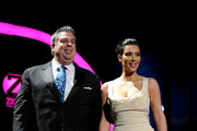 Host Elvis Duran of Z100 and Kim Kardashian speak onstage during Z100's Jingle Ball 2010 at Madison Square Garden on December 10, 2010 in New York City.