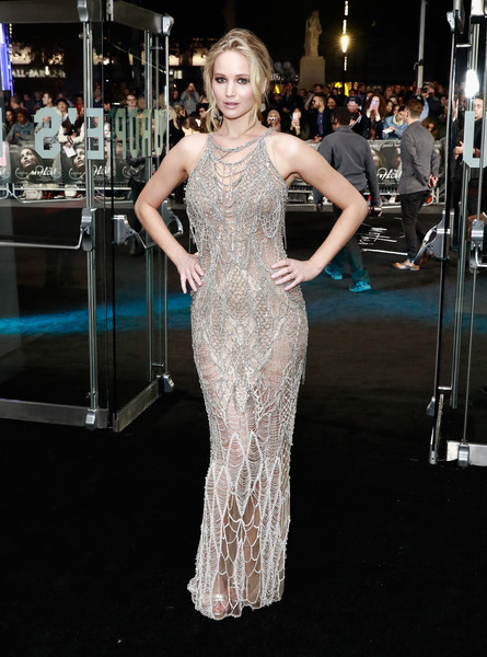 When She Wore A Sheer Metallic Gown To The UK Premiere Of 'mother!'