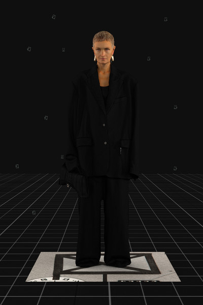 Balenciaga at Paris Fall 2021 [autumn,collar,standing,formal wear,blazer,space,overcoat,suit trousers,frock coat,tuxedo,pocket,suit trousers,fashion,runway,clothing,demna gvasalia,automne-hiver,space,balenciaga,paris fashion week,demna gvasalia,balenciaga,fashion,ready-to-wear,runway,autumn,automne-hiver 2021 / 2022,clothing,fashion show]