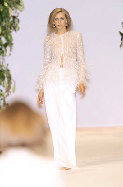 Balmain at Couture Spring 2001 [couture spring 2001,clothing,white,fashion model,fashion,dress,haute couture,neck,fashion show,shoulder,runway,supermodel,fashion,haute couture,runway,wedding dress,model,spring,balmain,fashion show,fashion show,fashion,haute couture,balmain,model,runway,wedding dress,supermodel,spring]