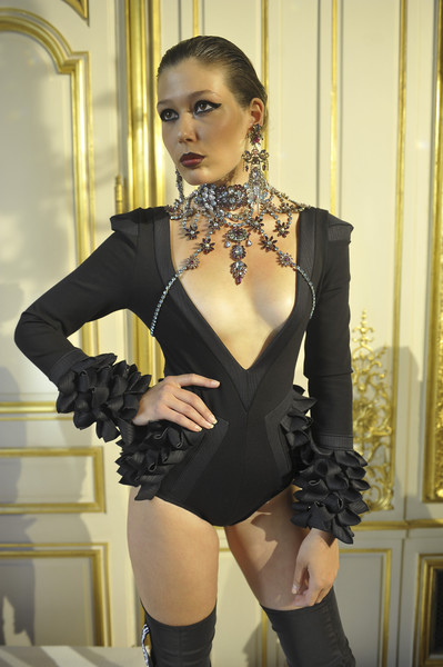 Baroqco at Couture Fall 2018 [clothing,black,beauty,lingerie,fashion,leg,thigh,model,lingerie top,photo shoot,jewellery,couture fall,necklace,fashion,baroqco,model,fashion week,fashion,haute couture,paris fashion week,paris fashion week,fashion week,haute couture,jewellery,fashion,paris fashion week,autumn,model,statement-necklace,design]