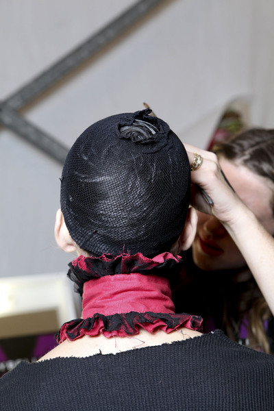 Betsey Johnson at New York Fall 2011 (Backstage) [hair,black,pink,hairstyle,doll,joint,black hair,neck,long hair,braid,betsey johnson,hair,hair,capital asset pricing model,design,textile,black,pink,neck,new york fashion week,design,textile,capital asset pricing model]