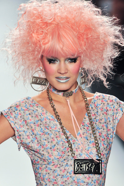 Betsey Johnson at New York Spring 2014 (Details) [hair,hairstyle,pink,afro,fashion,blond,beauty,lip,hair coloring,wig,blond,betsey johnson,fashion,beauty,hairstyle,hair coloring,wig,pink,new york fashion week,fashion show,betsey johnson,ready-to-wear,fashion,hair coloring,beauty,wig,fashion show,hairstyle,facial makeup,blond]