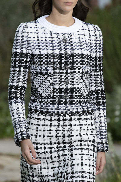 Chanel at Couture Spring 2020 (Details) [clothing,white,fashion,pattern,fashion model,shoulder,sleeve,dress,design,neck,chanel,fashion,pattern,clothing,white,fashion model,design,neck,couture spring 2020,dress]