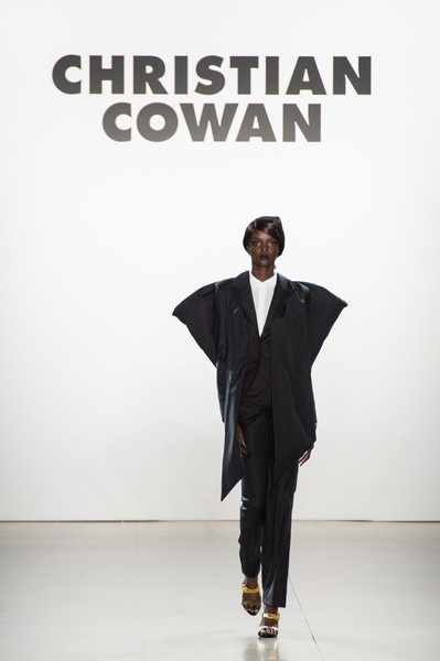Christian Cowan at New York Spring 2019 [fashion,runway,suit,formal wear,fashion show,fashion design,outerwear,tuxedo,white-collar worker,style,outerwear,christian cowan,fashion,tuxedo,runway,model,suit,wear,tuxedo m,new york fashion week,runway,model,fashion,tuxedo m.,tuxedo]