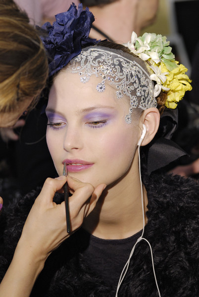 Christian Lacroix at Couture Spring 2008 (Backstage) [hair,headpiece,hair accessory,hairstyle,beauty,fashion,eyebrow,lip,fashion accessory,haute couture,jewellery,supermodel,hair,headpiece,fashion,haute couture,hair,model,flower,couture spring 2008,headpiece,hair m,model,supermodel,haute couture,fashion,jewellery,long hair,flower,hair]