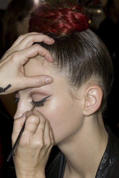 Christian Lacroix at Couture Spring 2009 (Backstage) [couture spring 2009,hair,face,hairstyle,forehead,eyebrow,nose,beauty,ear,chin,hand,christian lacroix,hair,beauty,hair,hair coloring,bun,brown hair,fashion,forehead,hair coloring,bun,fashion,chignon,christian lacroix,long hair,livingly,beauty,brown hair,hair]