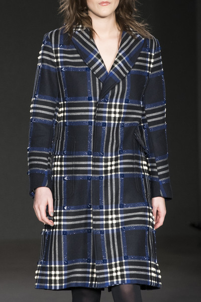 Daks at London Fall 2017 (Details) [clothing,plaid,tartan,pattern,textile,sleeve,design,outerwear,day dress,coat,dress,tartan,clothing,fashion,trench coat,cobalt blue,model,daks,london fashion week,fashion show,fashion show,trench coat,cobalt blue,overcoat,tartan,fashion,model,dress,clothing,blue]