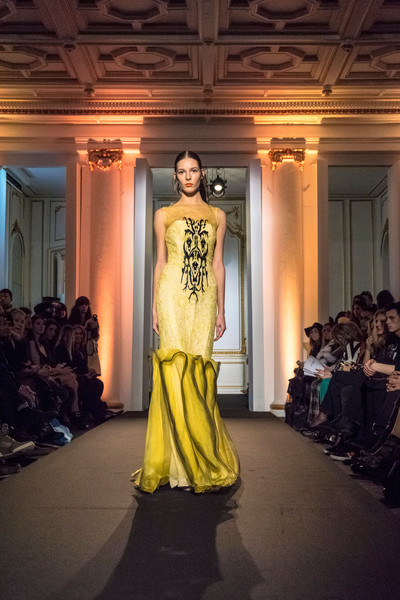 Dany Atrache at Couture Spring 2015 [couture spring 2015,fashion model,fashion show,fashion,clothing,fashion design,yellow,dress,haute couture,runway,formal wear,fashion designer,supermodel,dany atrache,runway,haute couture,fashion,model,fashion model,fashion show,fashion show,runway,fashion,haute couture,model,fashion designer,supermodel,dior]