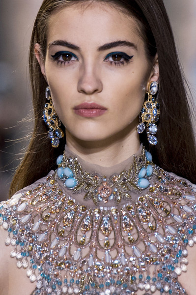 Elie Saab at Couture Spring 2017 (Details) [hair,fashion model,fashion,beauty,jewellery,eyebrow,hairstyle,fashion accessory,lip,chin,necklace,supermodel,socialite,designer,fashion,haute couture,beauty,model,hair,couture spring 2017,haute couture,supermodel,necklace,model,photo shoot,beauty,socialite,fashion,designer,greater middle east]