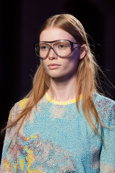 Emilio Pucci at Milan Spring 2016 (Details) [eyewear,hair,face,glasses,fashion,fashion show,beauty,hairstyle,head,runway,sunglasses,emilio pucci,face,glasses,geek,eyewear,beauty,gucci,milan fashion week,fashion show,glasses,emilio pucci,geek,gucci,sunglasses,face,blond,bangs]