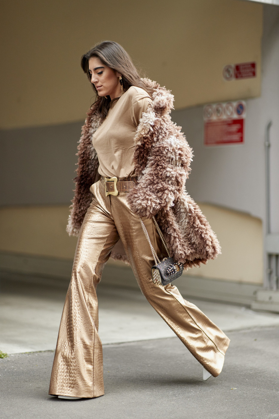 Textured Metallics The Most Fabulous Street Style Seen At Milan Fashion Week Livingly