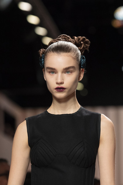 Fendi at Milan Fall 2020 (Details) [hair,fashion,fashion model,hairstyle,beauty,haute couture,fashion show,runway,model,lip,supermodel,runway,haute couture,model,fashion,hair,hair,fendi,milan fashion week,fashion show,runway,fashion show,hair m,haute couture,model,supermodel,long hair,fashion,chignon,headpiece]