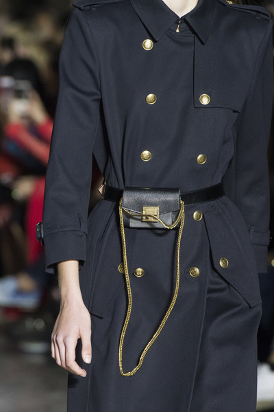 Givenchy at Paris Spring 2018 (Details) [trench coat,clothing,coat,fashion,overcoat,outerwear,military uniform,sleeve,uniform,waist,fashion accessory,fashion,spring,trench coat,model,fanny pack,runway,military uniform,givenchy,paris fashion week,fashion,fanny pack,runway,handbag,spring,model,summer,fashion accessory]