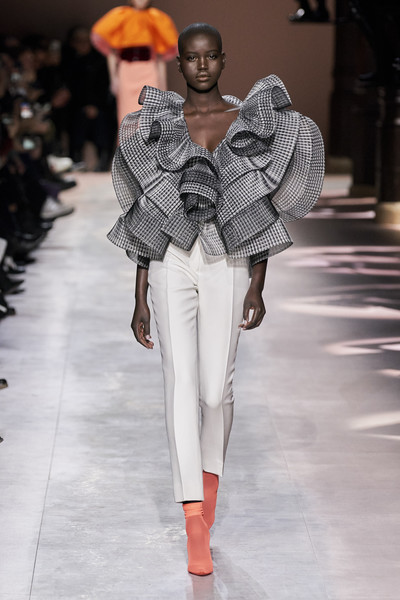 Givenchy at Couture Spring 2020 [fashion model,fashion,fashion show,runway,white,clothing,shoulder,street fashion,human,fashion design,givenchy,fashion,runway,fashion model,street fashion,white,clothing,couture spring 2020,fashion show,human]
